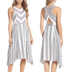 Adelyn Rae blk white Vidette pleated stripe dress